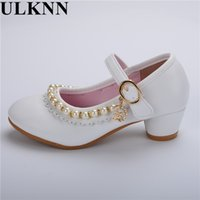 Wholesale height increasing shoes for children resale online - ULKNN Pearls Flower Girls Wedding Shoes New Style Luxury Kids Ballet Shoes For Party Children Girl Flats Slip On Princess