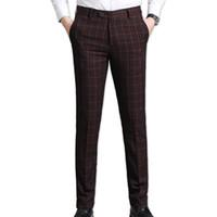 модный свадебный мужской костюм оптовых-2019 Men's suit suit pants plaid business casual fashion slim pants classic retro plaid wedding