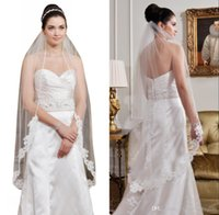 Wholesale shoulder veils resale online - Cheap Short M One Layer Bridal Wedding Veils with Comb White Ivory Appliqued Bridal Veils CPA815