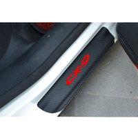 ingrosso mazda porta scuff plates-Autoadesivo del piatto dello scuff del protettore del davanzale della porta del vinile della fibra del vinile 4Pcs per Mazda Cx9