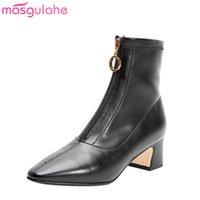 botas tacones vestido al por mayor-Masgulahe hot fashion women botines 2020 invierno otoño botas para mujer zapatos de vestir con cremallera sexy tacones altos damas