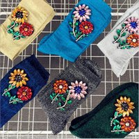 meias femininas coreanas venda por atacado-Chegou nova Estilo Coreano Moda Meias de Glitter Mulheres Primavera jóia Flor Gem Doce Cor Meias Feitas À Mão
