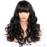 Wholesale glueless full lace wavy bangs wigs resale online - Peruvian Wigs Full Lace For Black Women With Bangs Wet And Wavy Glueless Virgin Hair Lace Front Human Hair Wig With Bangs Preplucked