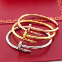 bracelete de prego da moda venda por atacado-Prego Forma Pulseira para Casal 18k Rose Pulseira de Ouro com Diamantes Marca de Moda Mulheres Jóias Acessórios