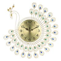 diy pfau dekorationen großhandel-Große 3d gold diamant pfau wanduhr metall uhr für haus wohnzimmer dekoration diy uhren handwerk ornamente geschenk 53x53 cm