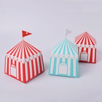 Wholesale circus party decorations resale online - Fashion new20pcs Striped Candy Box Circus Party Supplies Cartoon House Kids Birthday Party Decorations Favors Packaging Gift Box