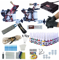 Wholesale starter tattoos for sale - Group buy Professional Tattoo Kit Machine Guns Bottle Inks Tattoo Machine Set Needles Tips Supplies Kit Tattoo Tools For Starter