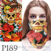 Wholesale black people clothes resale online - Women Men Unisex Skull Mask Half Face Scarf For Halloween Party Clothing Accessories