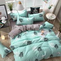 designer bed comforters sets Blue Pink Love Fashion Modern Bedding Set Bed Linings Duvet Cover Pillowcase Home Leaf Textiles blanket