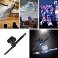videospiele einstellung tv großhandel-beste weiche WIFI APP 42cm bloßes Auge 3D Hologrammtechnologie 2 Blätter LED bewegliche Werbungsfan-Anzeigenspieler-Großhandelsmaschine Projektoren