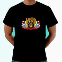 ingrosso lampeggiante musica tshirt-T-shirt LED Sound Activated di vendita calda Su e giù T-Shirt con attivazione sonora EL Equalizer lampeggiante