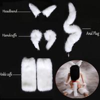 knöchel-stulpe sex-spielzeug großhandel-Weiß Sexy Faux Fox Tail Butt Silikon / Metall Butt Plug + Handgelenkmanschetten + Beinfesseln + Stirnband Sex Toys Spiele für Erwachsene