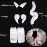 Wholesale metal hand wrist cuffs for sale - Group buy White Sexy Faux Fox Tail Butt Silicone Metal Butt Plug Wrist Hand Cuffs Leg Ankle Cuffs Headband Sex Toys Adult Games