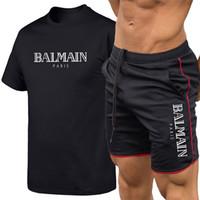 kurze anzug frauen großhandel-2019 Balmain Männer Designer T-Shirts Atmungsaktiver Anzug Lässig Neuer Briefdruck Männer Frauen bedruckten kurzärmeligen T-Shirt +5 Hosenanzug