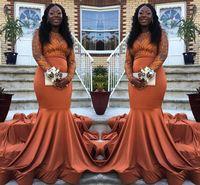 Wholesale prom dress online - 2K19 Black Girls Vintage Long Sleeves Prom Dresses Mermaid Orange Sheer Neck Appliques Long Party Evening Gowns Plus Size BC0985