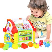construir bloques de casa al por mayor-Multifuncional música del bebé del juguete de entretenimiento House Music rompecabezas de forma Building Blocks Matching Emparejar aprendizaje juguetes educativos