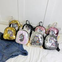 çanta çocukları okulu toptan satış-Geri Okulu Çocuk Omuz Çantası Çanta Öğrenci Gökkuşağı Unicorn payetli Stil Kız Mini Sırt Çantası için Öğrenci Karikatür Unicorn Sırt Çantası