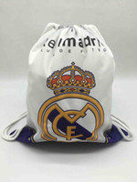 Wholesale shoe storage designs for sale - Group buy Real Madrid Fans Soccer Shoes Drawstring Outdoor Bags Football training Design Storage Backpack Canvas School Bag Toys Received Beach Bag