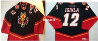 Wholesale Rare Vintage Men real Full embroidery Jarome Iginla Vintage Calgary Flames Hockey Jersey Size s XL or custom any name or number Jersey