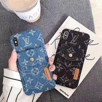 étui de protection de carte achat en gros de-Etui Denim Card Phone pour iPhone XS MAX XR 8/7/6 Plus Coque Mobile Monogran Branding Designer Premium Hybird Kickstand Etui de protection