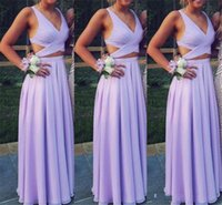 Wholesale sexy beach style wedding dresses online - 2019 Sexy Bridesmaid Dresses Lavender Lilac A Line V Neck Cutaway Sides Simple Wedding Guest Dress Beach Boho Style Cheap