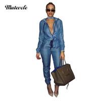 jeans um venda por atacado-Mutevole Long Sleeve Bodycon Denim Jumpsuit Mulheres Macacão Com Capuz Macacão Com Zíper Com Cordão Jeans Casual One Piece