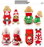 Wholesale christmas clothing for female dog resale online - Pet Dog Santa Costumes Christmas Dressing Coats Decoration Clothes for Pet Hoodies Puppy Cats A03