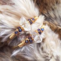quartz de cristal bleu achat en gros de-Rustique Point Enroulement de Fil Bleu Quartz Pierre Brute Cristal Pierre Bijoux Bracelet Bracelet BM27714