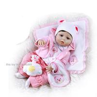 muñecas de niña de tamaño real al por mayor-56CM reborn toddler girl doll cuerpo completo de silicona suave 0-3M tamaño real bebe doll reborn Reborn Bath toy Anatómicamente correcto