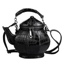 Wholesale handbag gothic resale online - Pop2019 Personalized Teapot Shape Shoulder Bag Leather Handbag Women Funny Gothic Party Bag Black Kettle Female Messenger Bags