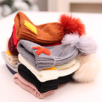 Wholesale ostrich hat feathers resale online - Parent child Wool Hat Winter Knitted Hats Alphabet labeled Thermal Cap Ostrich Feather Caps Outdoor Beanies for Adult Children GGA2541