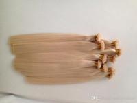extensiones de cabello de punta plana de fusión al por mayor-Blonde Queratina Fusión Punta Plana extensiones de cabello humano 1 Set 100Strands 100g Pre-consolidado punta plana del pelo Extensiones pelo sin procesar del recto