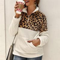 velo macio venda por atacado-2019 Inverno Camisola de Lã Moda Leopardo Patchwork Fofo Grosso Blusas Quente Zipper Pullovers Mulheres Casaco de Inverno Sherpa Tops