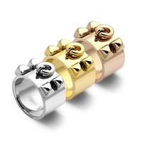 breite nägel großhandel-Heiße neue H vier Nagelring breites Gesicht 1,2 cm H Paar Ring für Männer und Frauen Ehering