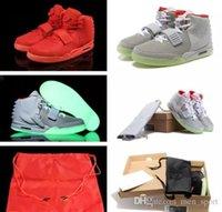 basketbol ayakkabıları yeşil renkte toptan satış-Güncelleme Klasik Kanye West 2 II NRG Kırmızı Ekim Basketbol Ayakkabıları erkekler s 2 s Glow Yeşil Siyah Grye Kırmızı Moda Spor Sneakers ABD 8-13