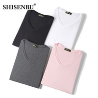 hombre camiseta bambú al por mayor-verano de moda con cuello en V camiseta casual suelta rosa negro fitness 95% de fibra de bambú Cómodas camisetas de manga corta para hombre camisetas hombres