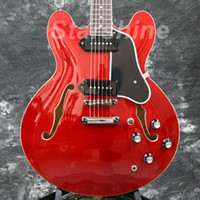 Wholesale electric guitars for sale - Group buy JX HLB1 Starshine Semi Hollow Body Electric Guitar P90 Pickups Red Color Dot Inlay Black Pickguard Style