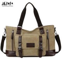 Wholesale phone cas online – custom sales brand men handbag multi functional leather with canvas shoulder bag fashion belt decoration Messenger bag outdoor large canvas cas