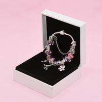 bracelets eiffel achat en gros de-Argent 925 PLAQUÉ Tour Eiffel Charms Bracelet Boîte d'origine ensemble pour Pandora Perles Bleues Charme Bracelets DIY pour Femmes