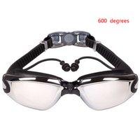 близорукие плавательные очки оптовых-Women Men Flat lens/Myopic lens Swimming Unisex Goggles Anti-fog Nearsighted Diving Swimming Glasses With Siamesed Ear Plugs