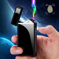 Wholesale electronic fire lighter for sale - Group buy USB Touch Screen Cigarette Lighter Double Fire Cross Twin Arc Pulse Charging Electronic Lighter Metal Portable Windproof Lighters BH2614 TQQ