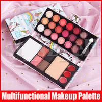Wholesale brush mirror eyeshadow resale online - Face Makeup Colors Pressed Eyeshadow Palette Lipstick Highlight Blush Eyebrow Powder with Brush Mirror Multifunctional Palette Styles