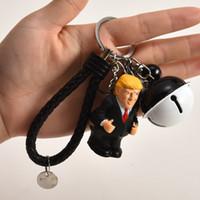llaves de sílice al por mayor-Spoof Trump Form Keys Cadena Bolso del coche Llavero Colgante Bell Cuerda de cuero Juego de hebillas de llave Gel de sílice Artifact Negro 4 5hh C1