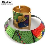 ingrosso collana indiana multicolore-Manilai Trendy Paese Stile Multicolor Pittura Torques Bracciale Bracciale Bracciali Set di donne Gioielli dichiarazione indiana Y19051302