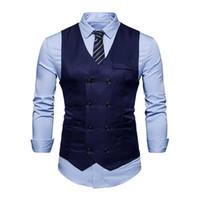 fcaa8c28a4 roupa formal masculina venda por atacado-2018 Homens Primavera Homens  Sólidos Terno Colete Double Breasted