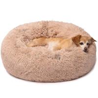 самонагревающиеся ткани оптовых-Круглая собачья кровать для маленьких и средних собак кошек, роскошный пончик из искусственного меха Cuddler, валик Pet Bed диван, дополнительная плюшевая собака подушка диван