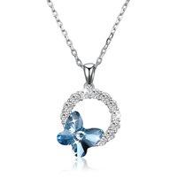 gümüş hat kolye toptan satış-S925 Gümüş Mavi Kelebek Romantik Yuvarlak Kolye Kolye Uzun Swarovsk Hattı Yuvarlak Kolye Basit Romantik Hediye Kadınlar
