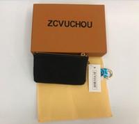 renkler bedava cüzdanlar toptan satış-Ücretsiz kargo! Özel 4 renkler Anahtar Kılıfı Zip Cüzdan Sikke Deri Cüzdan Kadın tasarımcı çanta kutusu toz torbası ile 62650