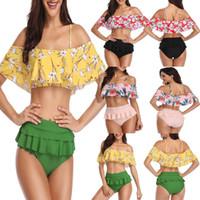 ingrosso reggicalze in argento-New Style Fashion Hot Donna Summer Print Bikini Set Push-up Ruffles imbottito reggiseno costume da bagno costume da bagno vita alta