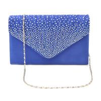 ingrosso sacchetti di promenade blu-FGGS-Womens Silk face Diamond Clutch / Tracolla Borsa da sera da sera Prom Satchel Chain Handbag (blu zaffiro)
